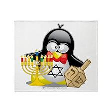 Penguin Hanukkah Throw Blanket