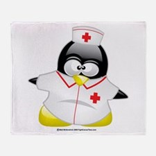 Nurse Penguin Throw Blanket