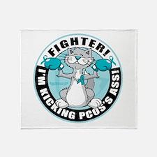PCOS Cat Fighter Throw Blanket