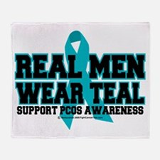 Real Men Wear Teal PCOS Throw Blanket