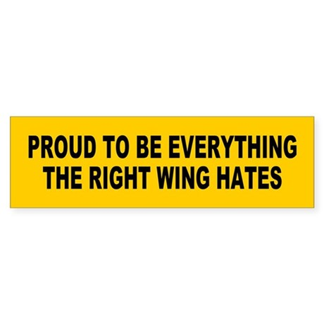 everything right wing hates... Bumper Sticker