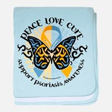 Psoriasis Peace Love Cure baby blanket