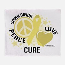 Spina Bifida Peace Love Cure Throw Blanket