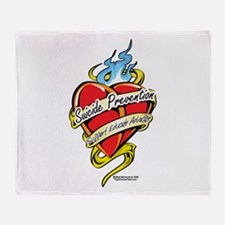 Suicide Prevention Tattoo Hea Throw Blanket