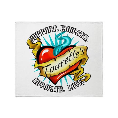 Tourette's Tattoo Heart Throw Blanket