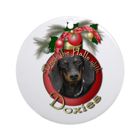 Christmas - Deck the Halls - Doxies Ornament (Roun