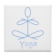 Yoga in Baby Blue Tile Coaster