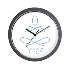 Yoga in Baby Blue Wall Clock