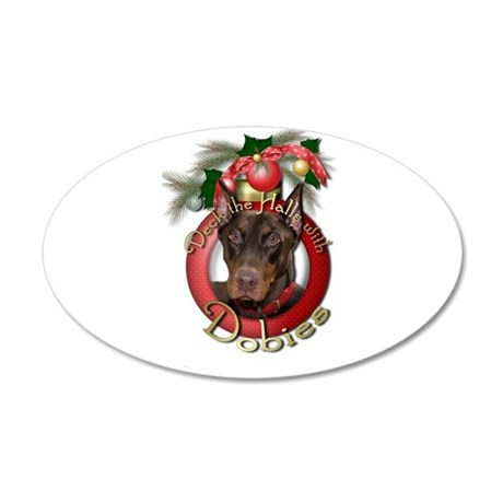 Christmas - Deck the Halls - Dobies 22x14 Oval Wal