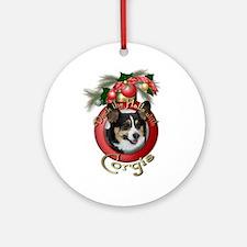 Christmas - Deck the Halls - Corgis Ornament (Roun