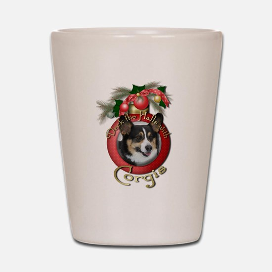 Christmas - Deck the Halls - Corgis Shot Glass