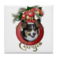 Christmas - Deck the Halls - Corgis Tile Coaster