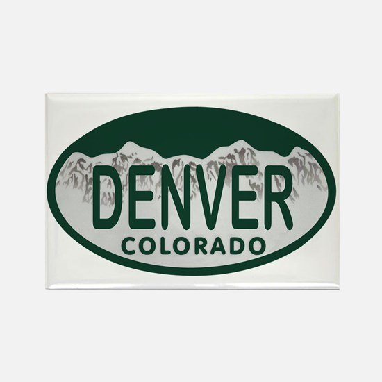 Denver Colo License Plate Rectangle Magnet