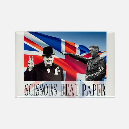 Scissors Beat Paper Rectangle Magnet