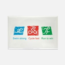 Swim Strong, Cycle Fast, Run to Win Rectangle Magn