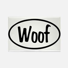 Woof Oval Rectangle Magnet