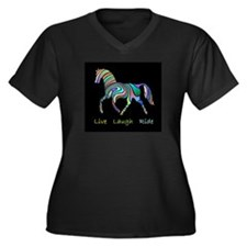 Rainbow horse gift Women's Plus Size V-Neck Dark T