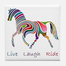 Rainbow horse gift Tile Coaster
