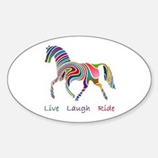 Rainbow horse gift Sticker (Oval)