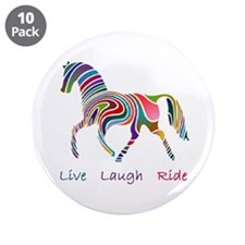 """Rainbow horse gift 3.5"""" Button (10 pack)"""