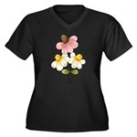 Pretty Daisies Women's Plus Size V-Neck Dark T-Shi