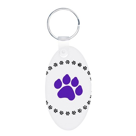 Blue Paw Print Aluminum Oval Keychain