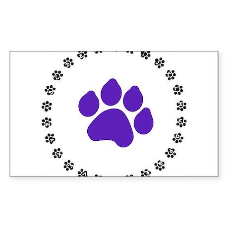 Blue Paw Print Sticker (Rectangle)