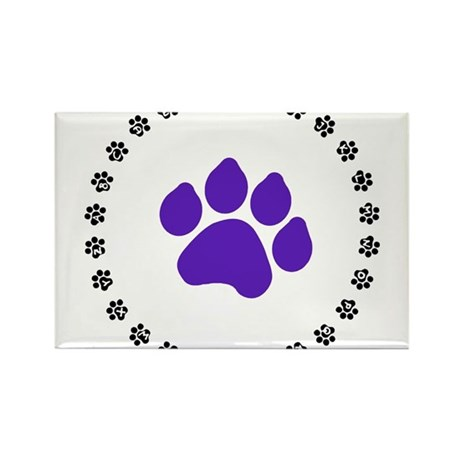 Blue Paw Print Rectangle Magnet (100 pack)