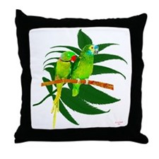 The Green Parrots Throw Pillow