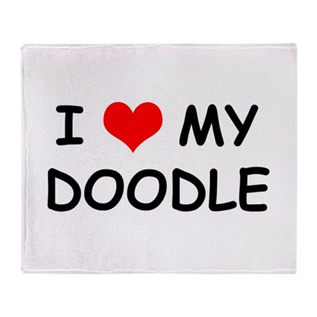 I Love My Doodle Throw Blanket