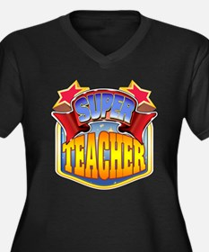Super Teacher Women's Plus Size V-Neck Dark T-Shir