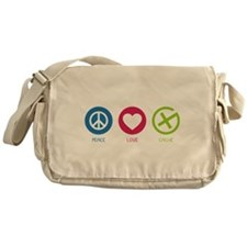 Geocaching Peace Love Cache Messenger Bag