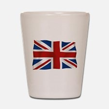 Union Jack flying flag Shot Glass