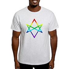 Rainbow Unicursal Hexagram  Ash Grey T-Shirt
