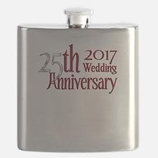 25th Silver Burgundy Anniversary 2017 Flask