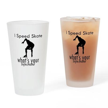 I Speed Skate Drinking Glass