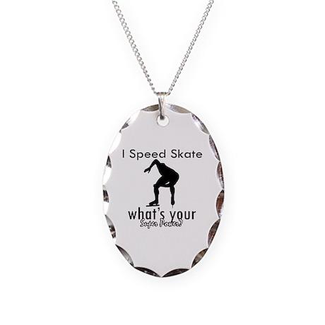 I Speed Skate Necklace Oval Charm