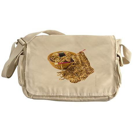 Hand Knit Chenille Yarn Messenger Bag
