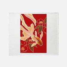 """Kimono Tradisional Design """"Goldfish"""" Throw Blanket"""