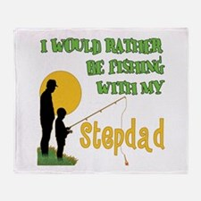 Fishing With Stepdad Throw Blanket