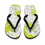Floral Sketch Lime Flip Flops