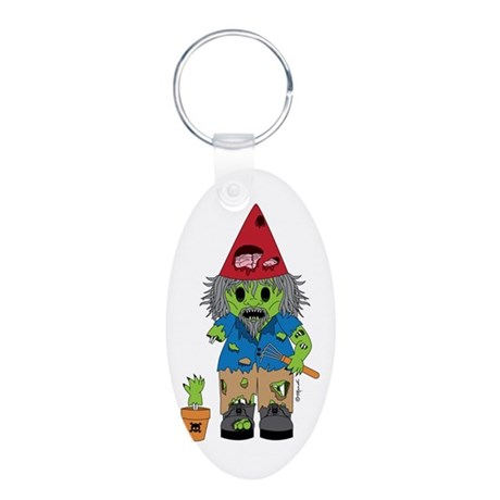 Zombie Gnome Aluminum Oval Keychain