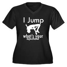 I Jump Women's Plus Size V-Neck Dark T-Shirt