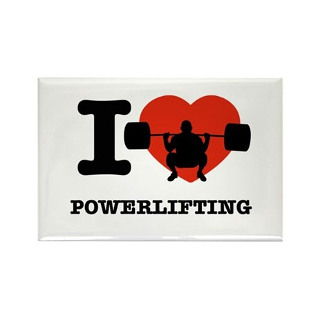 I love Power lifting Rectangle Magnet