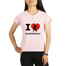 I love Racquet ball Performance Dry T-Shirt