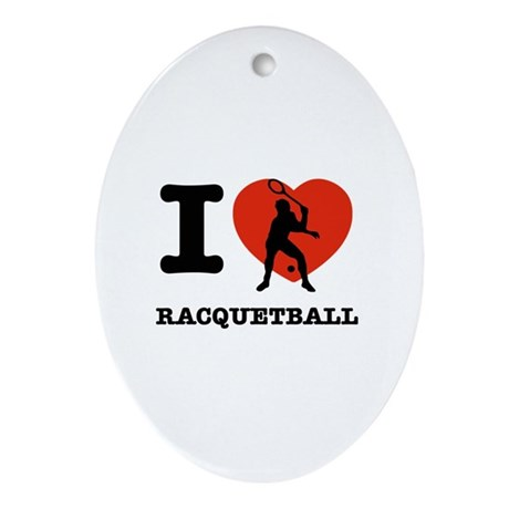 I love Racquet ball Ornament (Oval)