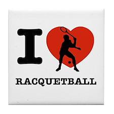 I love Racquet ball Tile Coaster
