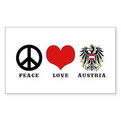 Peace Love Austria Sticker (Rectangle)