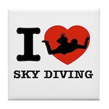 I love Sky diving Tile Coaster