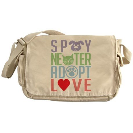 Spay Neuter Adopt Love 2 Messenger Bag